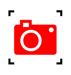 digital camera sign red icon inside black vector image vector image