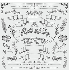 Hand Drawn Floral Design Elements vector image vector image