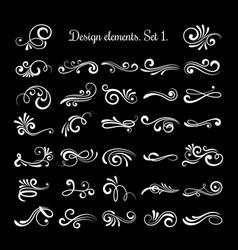 line vintage scroll items for ornate design vector image