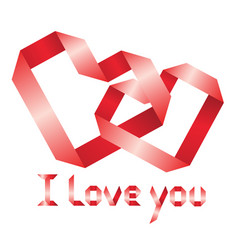 ribbon i love you vector image vector image
