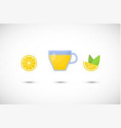 tea with lemon flat icon set vector image