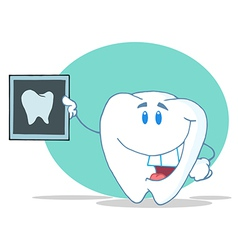 Tooth Character Holding Up A Dental X Ray Picture vector image vector image