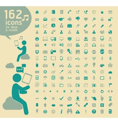 162 basic Icons retro color vector image vector image