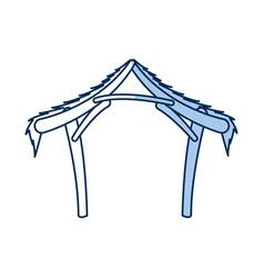 manger hut wooden decoration nativity outline vector image