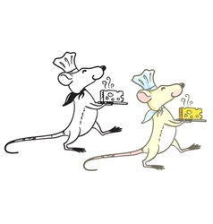 rat cook with cheese vector image