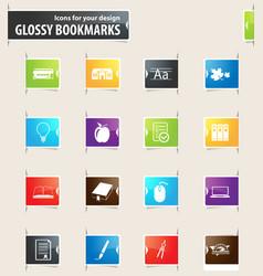 school bookmark icons vector image