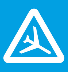 Warning sign of low flying aircraft icon white vector