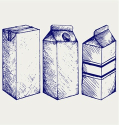 A set of boxes for milk and juice vector image