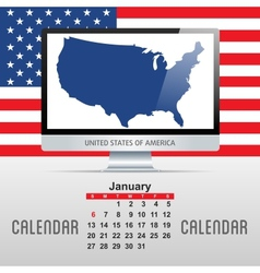 Calendar With map of countries vector image vector image