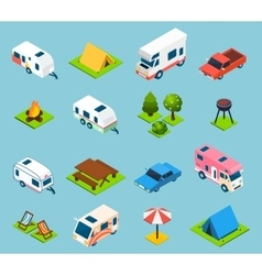 Camping And Travel Isometric Icons Set vector image vector image