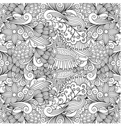 doodle leaf and swirls background vector image