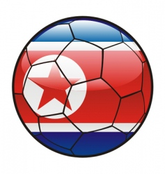 flag of north Korea on soccer ball vector image vector image