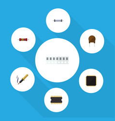 Flat icon technology set of repair resistor cpu vector