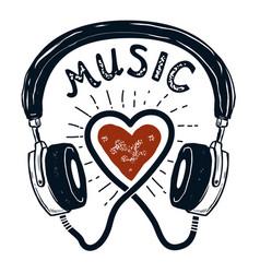 i love music hand drawn headphones design element vector image vector image