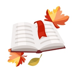 Open book with bookmark and autumn leaves vector image