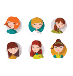 set with 6 lovely girls heads dressed like shop vector image vector image