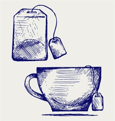 Tea bag and cup vector image