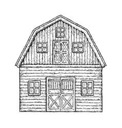 Wooden farming barn vector