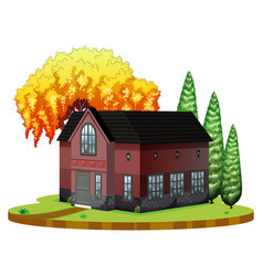 brickhouse and willow tree on the park vector image vector image