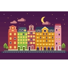 color houses on night vector image vector image