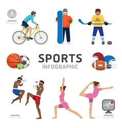 Infographic Health Sport and Wellness Flat Icons vector image