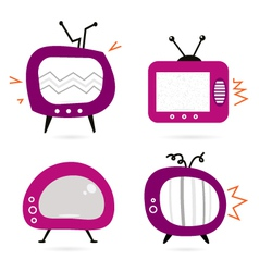 retro pink tv collection vector image