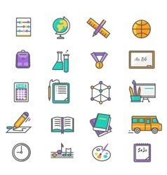Set of Thin Lines Icons Back to School vector image