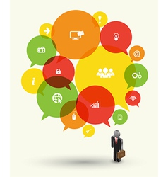 Speech icon and business man vector image vector image