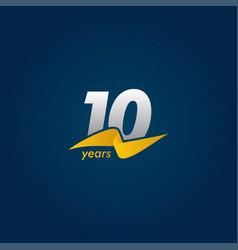 10 years anniversary celebration white blue vector