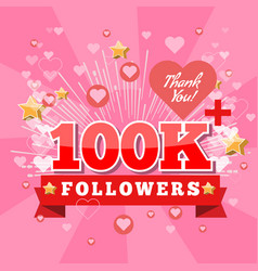 100k followers and thank you banner background vector image