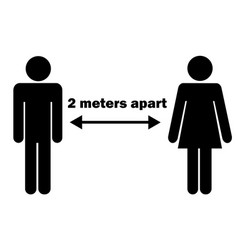 2 meters 2m apart man woman stick figure vector