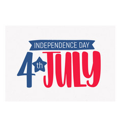 4th july independence day inscription written vector image