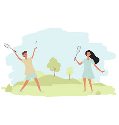 A couple guy and girl are playing badminton vector