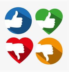 a set of colorful thumbs up and down icons with vector image