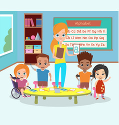 A special class of disabled children vector