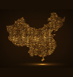 abstract map of china with glowing particles vector image