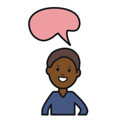 afro young man with speech bubble avatar character vector image