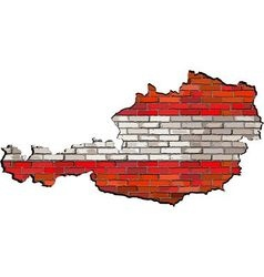 Austria map on a brick wall vector image vector image