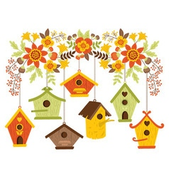 Autumn Flowers with Bird Houses vector