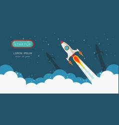 Banner of rocket launch vector