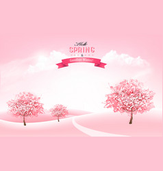 beautiful spring nature background with blossom vector image