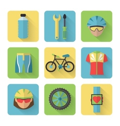 Bicycle Flat Icons Set vector