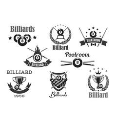 Billiards poolroom sport tournament badges vector