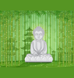 Buddha statue in bamboo forest vector
