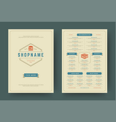 burger restaurant menu layout design brochure or vector image