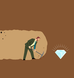 businessman digging and mining to find treasure vector image