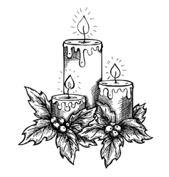 Candles and holly berries and leaves sketch vector