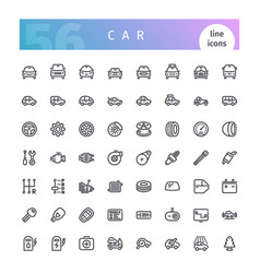 Car line icons set vector