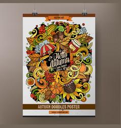Cartoon hand drawn doodles autumn poster design vector
