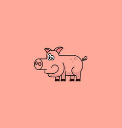 cartoon piggy on pink background vector image